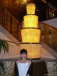 Joann and a light column aboard the NCL Pearl.jpg