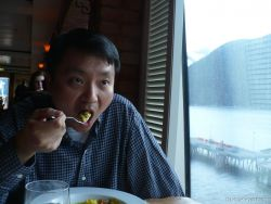 David chows on his dish at La Cucina aboard the Norwegian Pearl.jpg