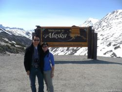 David and Joann in front of the Welcome to Alaska sign in Skagway.jpg